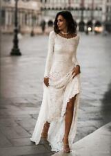 Vintage A-Linie  Spitze Modest Brautkleid Langarm Boho Rückenfrei Hochzeitskleid