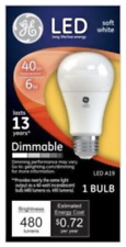 GE LED Soft White Bulb 6 Watt 40 Watt Replacement Dimmable A19 480 Lumens NEW