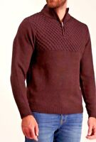 Mens New Ex Tu Aubergine Half Zip Neck Long Sleeve Cardigan Jumper