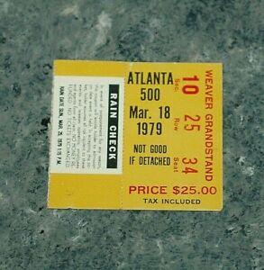 NASCAR 1979 Atlanta 500 ticket stub Buddy Baker 14th win