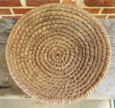 ANTIQUE Prim Nutty Brown LARGE PA STRAW RYE Coiled HANDWOVEN BASKET Folk Art #2