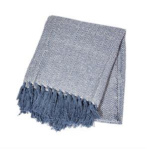 Sass & Bell - Blue Herringbone Blanket Cotton Throw Home Decor