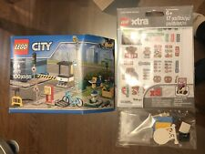 New LEGO Xtra Sticker Sheets 853921 & CITY Accessory Set 40170 SIGNS BIKE BANNER