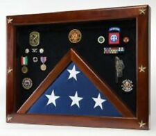 Military Award Shadow Box with Display Case for 9-1/2 x 5 ft. Flag - Red Backing