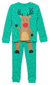 Kids Pyjamas, Xmas Rudolph Reindeer Print Organic Cotton Full Sleeve Green Pjs