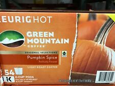 Green Mountain Pumpkin Spice Coffee Case of 54 K-Cups Keurig Pods Seasonal