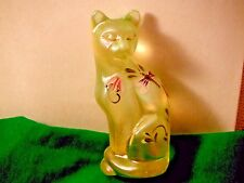 Fenton Burmese Yellow Satin Glass Cat-Hand Painted-Artist Signed-No Flaws! Ooak
