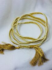Vintage Pearl Wired Gold Cord Tassles Garland Christmas Holiday Xmas Tree 25353