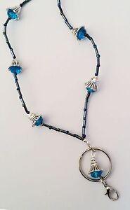 Black & Turquoise Bells ID Badge Holder HANDMADE Beads Lanyard Fashion Necklace