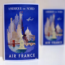 "#3237 Air France Amerique Du Nord World Travel 3x4"" Luggage Label Decal Sticker"
