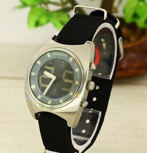 Orient FH VP00-CO CA quartz Analogue Digital all stainless steel wristwatch