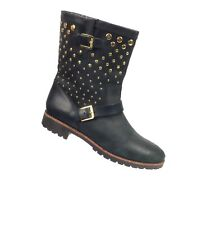 Sperry Top-Sider Britt Black Studded Boots Booties Leather Size 8.5 M