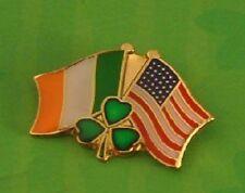 Irish Tricolor Tricolour American Flag Pin Lapel Badge Shamrock Ireland