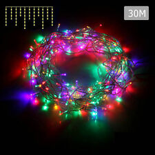800 LED Christmas Icicle Lights String Outdoor Fairy Party Wedding Light 30m Multi Colour