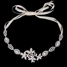 Wedding Bridal Rhinestone Clear Crystal Leaf Hair Band Head Band Ribbon Decor