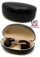 Black Hard Clam Shell Flux Leather Eyeglasses Eyewear Sunglasses Eyeglasses Case