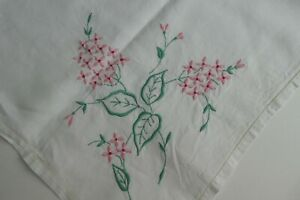 Vintage Embroidered Linen Tablecloth Embroidered Stylised Florals REDUCED