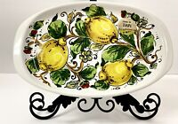 Nova Deruta Serving/Appetizer Tray With Lemons & Leaf Motives Made In Italy New