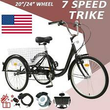 """20""""/24""""/26"""" Adult 7-Speed Tricycle 3 Wheels Trike Bicycle With Shopping Basket"""