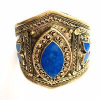 Lapis Lazuli Kuchi  Afghan Tall Cuff Bracelet Bangle Vintage Jeweller Antique