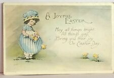 PostCard A Joyful Easter Poem Little Girl Posted Minn. Used 4-13-1922 Vintage