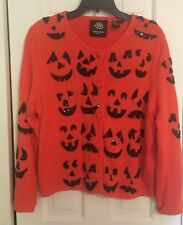 Michael Simon Vintage Halloween Pumpkin Jack O Lanterns Sweater Cardigan XL