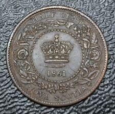 OLD CANADIAN COIN 1861 NOVA SCOTIA HALF CENT - Victoria - Nice HIGH GRADE