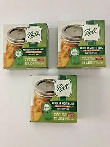 3 Boxes of 12 BALL REGULAR Mouth Canning Mason Jars Lids (36 Total) BPA Free