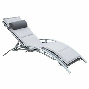 Patio Lounge Chair Recliner Reclining Chair Chaise Pool Furniture W/ Pillow
