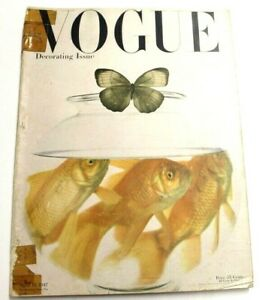 VTG Vogue Magazine April 15, 1947 Irving Penn Fish Bowl Butterfly Herbert Matter