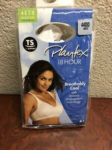 Playtex 44DD 18 Hour Wirefree Breathably Cool Bra TruSupport White Lift AS IS