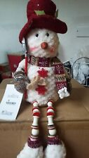 JOB LOT OF 5 Flame BERT AND BOB SITTING SNOWMAN WITH BUTTON LEGS XMAS DECORATION