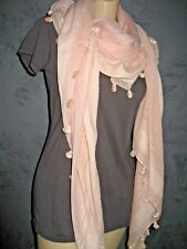 Chan Luu Scarf Long Pale Pink & Pom Poms NWT $155 Still in Bag Imperfect Color