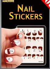 Sanglante halloween stickers ongle mains égouttement sang blanc manucure vampire