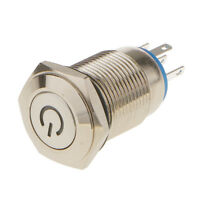 16mm Mounting DC 12V Blue LED Illuminated Light Momentary Push Button Switch