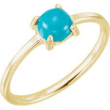 Neues AngebotRund Cabochon Türkis Ring IN 14K Gelbgold (6mm)