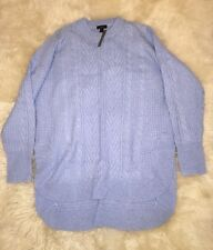 NWT JCREW TUNIC CABLE-KNIT SWEATER, F8549 L XL HEATHER BLUE $98