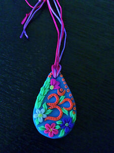 Hippie Boho Medallion Pendant GLOW IN UV Neon Psychedelic Festival Accessory OM