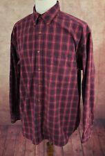 Eddie Bauer Button Down 100% Heavy Cotton Oxford Red Navy Plaid Shirt Men's L