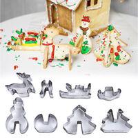 8pcs 3d scenario natale biscotto cookie cutter set in acciaio inox strumento dCR