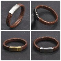 Men Vintage Braided Leather Bracelet Stainless Steel Magnetic Clasp Bangle