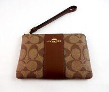 Coach Wristlet Clutch Khaki Signature C Design 4 By 6.25 Inch Handle Zip Top