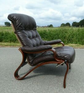 MID CENTURY DANISH ADJUSTABLE LOUNGE CHAIR BENTWOOD PLYWOOD BROWN SIMI LEATHER