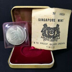 1973 Singapore Eagle SGD 10 Dollar Proof coin set No: 0859