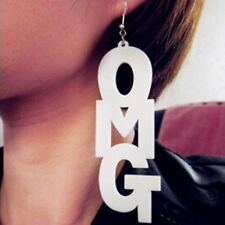 White Oversized Hip-hop OMG Letters Earrings Fashion Acrylic Hoop Punk Earrings