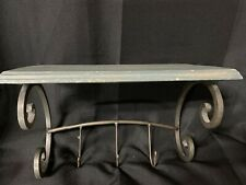 Vintage Shabby Chic Wood Shelf with 3 Metal Hooks