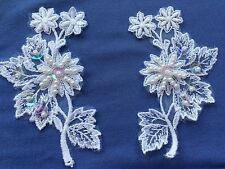 One Pair Pearl Sequins Floral Sew on Applique White Embroidered Organza Lace #32