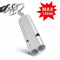 Outdoor Alloy Double Hole Survival Whistle Camping Emergency Tool with Key Chain