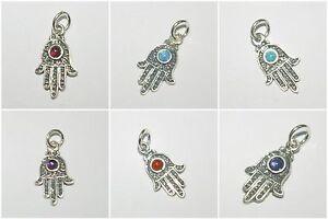 Sterling Silver 925 Small Filigree Gemstone HAMSA Fatima Hand Charm Pendant