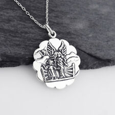 Guardian Angel Pendant Necklace - 925 Sterling Silver - Scalloped Edge